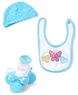 Lovespun Butterfly Print Hat, Socks & Bib Set - White & Blue
