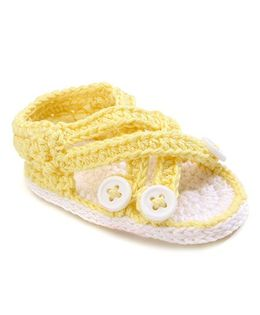 Jefferies Socks Fancy Booties With Buttons - Yellow