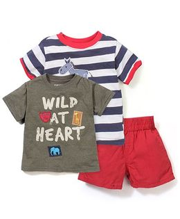 Boyz Wear by Nannette Wild At Heart 3 Piece Set T-Shirt & Short Set - Blue & Red
