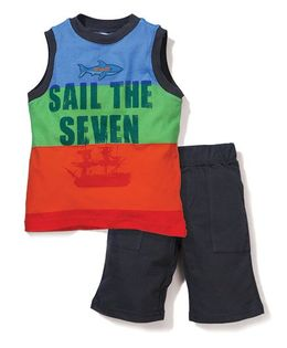 Boyz Wear Sail The Seven Print T-Shirt & Half Pant Set - Multicolor