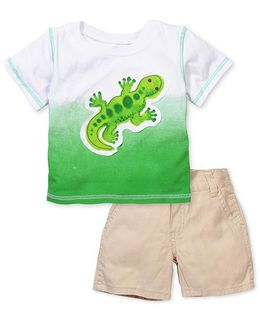 Boyz Wear Lizard Print T-Shirt & Pant Set - White Green & Beige