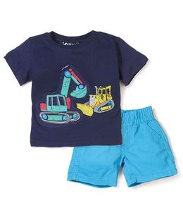 Boyz Wear By Nannette Vehicle Print T-Shirt & Pant - Blue