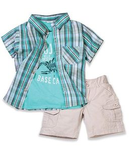 Boys Wear 3 Piece Set Shirt T-Shirt & Shorts - Green & White