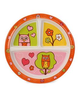 Sugar Booger Divided Suction Plate Owl Print  - Multicolour