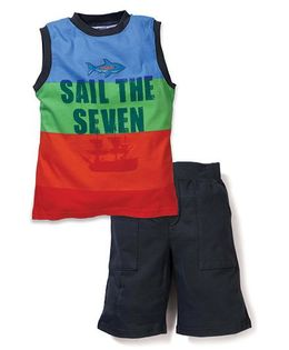 Boyz Wear by Nannette Sail the Seven Print T-Shirt & Short Set - Multicolor
