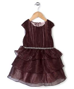 Little Coogie Beaded Layered Dress - Brown
