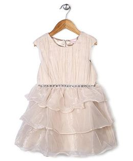 Little Coogie Beaded Layered Dress - Off White