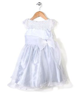 Little Coogie Party Wear Dress With Bow - Light Blue
