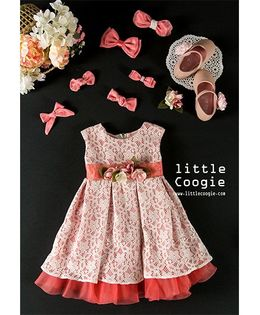 Little Coogie Floral Party Dress - Peach