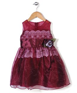 Little Coogie Party Dress With Lace & Flower - Maroon