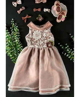 Little Coogie Floral Party Dress - Light Brown