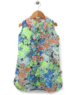 Chic Girls Flower Print Top - Green & Multicolour