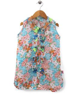 Chic Girls Flower Print Top - Blue & Multicolour