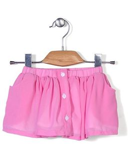 Chic Girls Skirt With Front Buttons - Light Pink