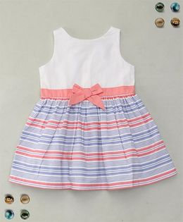 Adores Striped Dress With Bow - Blue & Pink