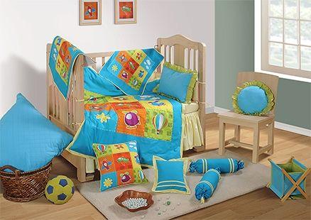 Swayam - 7 Piece Baby Crib Bedding Set Blue