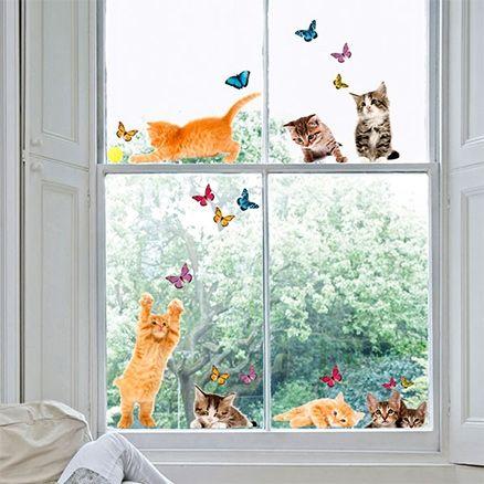 Home Decor Line Electrostatic Window Stickers Cats Online In India - Window stickers for home india