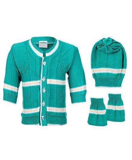 Babyhug Winter Wear Set Green - Pack Of 3