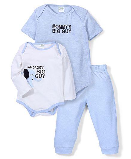 Babyhug Onesies With Leggings Pack Of 3 - Off White Blue
