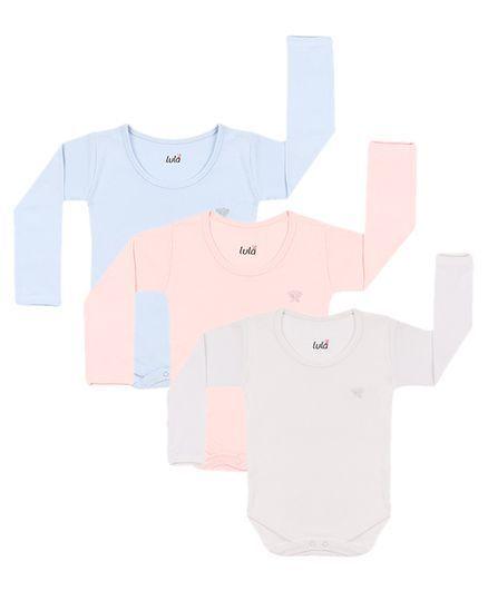 Lula Full Sleeves Onesies Pack of 3 - Blue Off White Pink