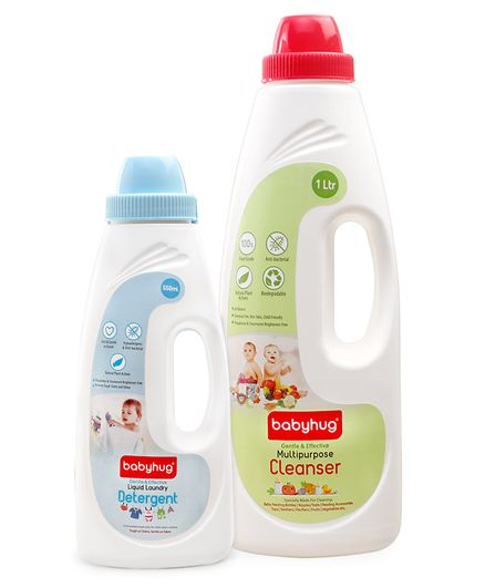 Babyhug Liquid Multi Purpose Cleanser - 1000 ml and Babyhug Liquid Laundry Detergent - 550 ml - Pack of 2