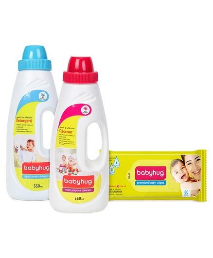 Babyhug Premium Baby Wipes - 80 Pieces , Babyhug Liquid Laundry Detergent - 550 ml and Babyhug Liquid Multi Purpose Cleanser - 550 ml - Pack of 3