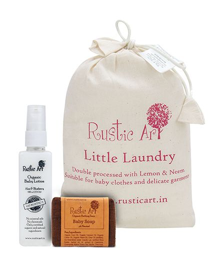 Rustic Art Laundry powder 1kg AND orgainc soap AND baby lotion. Pack of 3