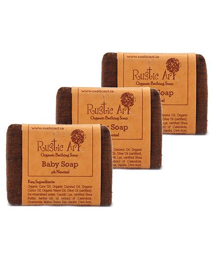 Rustic Art Organic Baby Soap 100 gm. Pack of 3