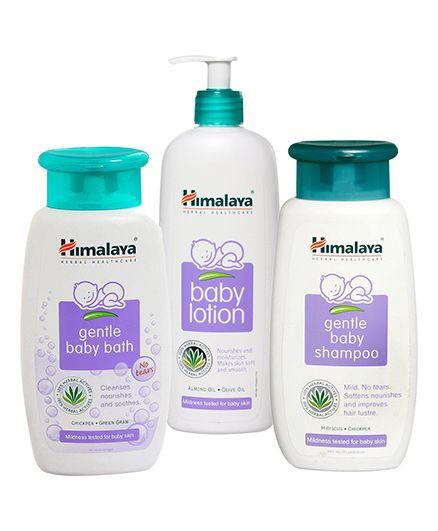 Himalaya Baby Lotion 400ml AND Himalaya Gentle Baby Shampoo 200ml AND Himalaya Gentle Baby Bath 200ml. Pack of 3
