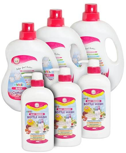 Farlin - Baby Feeding Bottle Wash - 700 ml and Farlin Baby Clothing Detergent - 1000 ml pack of 6