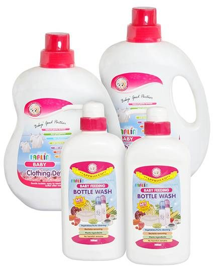 Farlin - Baby Feeding Bottle Wash - 700 ml and Farlin Baby Clothing Detergent - 1000 ml Pack of 4