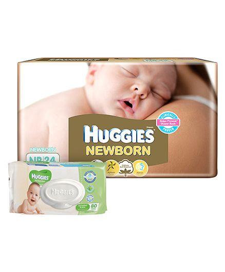 Huggies Newborn Taped Diapers For New Baby - 24 Pieces and Huggies Thick Baby Wipes Imported - 80 Pieces - Pack of 2