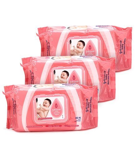 Johnson's baby Skincare Wipes - 80 Pieces Pack of 3