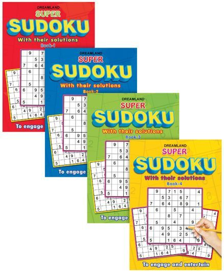 Super Sudoku With Solutions pack of 4