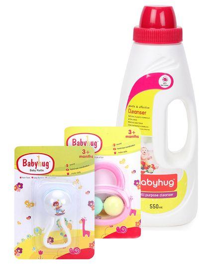 Babyhug Joy Rattle - White And Blue- 1 Qty And Babyhug Liquid Multi Purpose Cleanser - 550 ml- 1 Qty And Babyhug Ball Rattle - Pink- 1 Qty