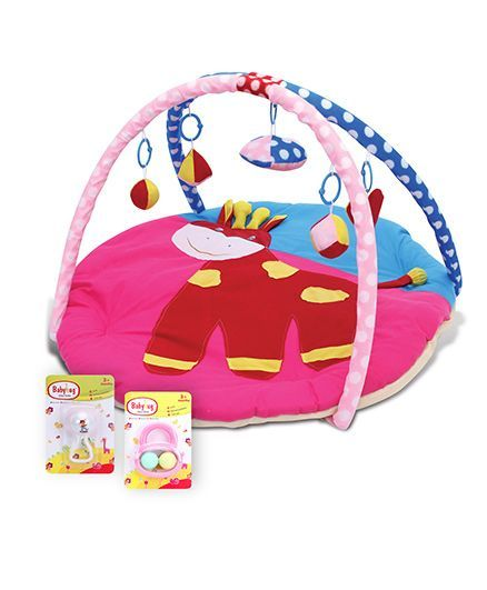Babyhug Joy Rattle - White And Blue- 1 Qty And Babyhug Ball Rattle - Pink- 1 Qty And Babyhug Twist N Fold Move N Play Activity Gym Pony - Multicolor- 1 Qty