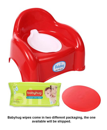 Babyhug  2 in 1 Baby Potty Cum Chair - Red- 1 Qty And Babyhug Premium Baby Wipes - 80 Pieces- 2 Qty