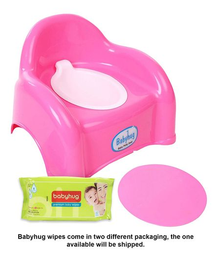 Babyhug  2 in 1 Baby Potty Cum Chair - Pink- 1 Qty And Babyhug Premium Baby Wipes - 80 Pieces- 2 Qty