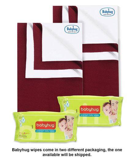 Babyhug Smart Dry Bed Protecting Sheet Maroon - Medium Pack Of 2 & Babyhug Premium Baby Wipes - 80 Pieces Pack Of 2