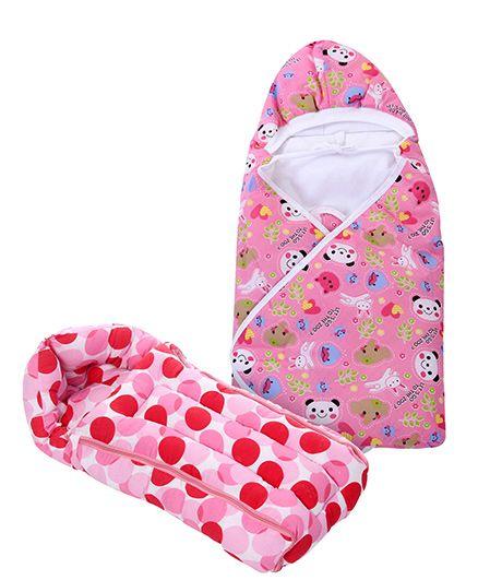 Babyhug Sleeping Bag Polka Dots - Pink- 1 Qty Babyhug Hooded Baby Wrapper Animal Print - Pink- 1 Qty