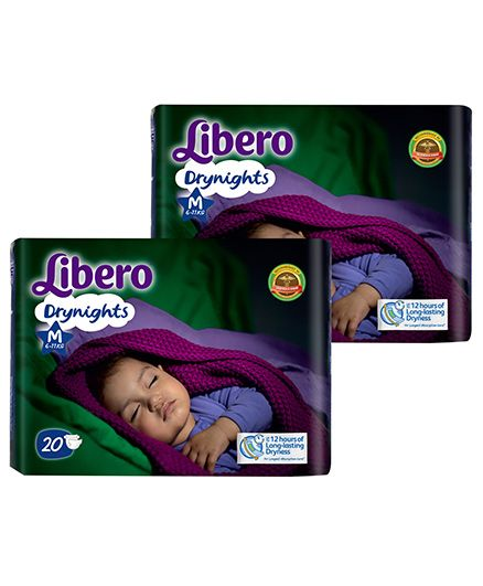 Libero Drynights Diapers Medium - 20 Pieces Pack Of 2