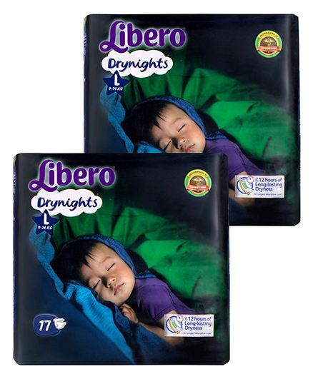 Libero Drynights Diapers Large - 17 Pieces Pack Of 2