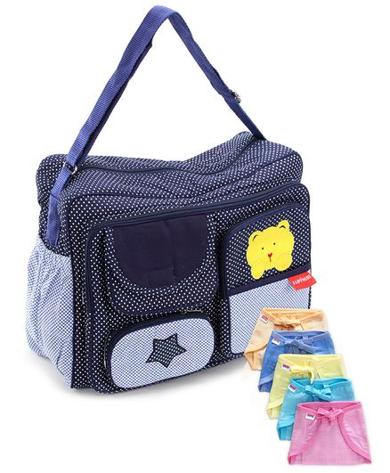 Babyhug U Shape Muslin Nappy Set Lace Small Pack Of 5 - Multicolor- 1 Qty And Sapphire Navy Blue Diaper Bag Polka Dot Print - 13 x 38 x 30.5 Cm- 1 Qty
