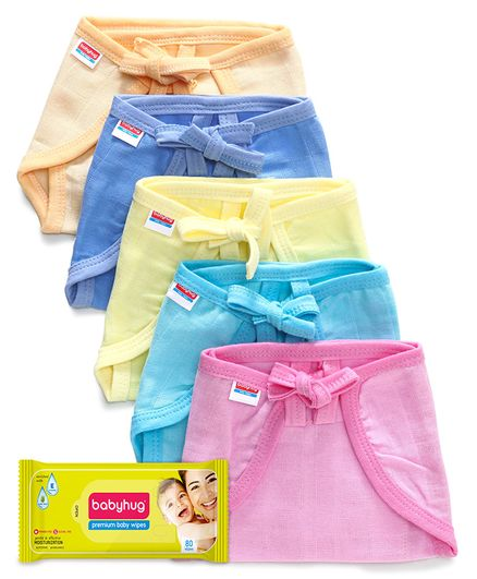 Babyhug U Shape Muslin Nappy Set Lace Small Pack Of 5 - Multicolor- 1 Qty and Babyhug Premium Baby Wipes - 80 Pieces- 1 Qty