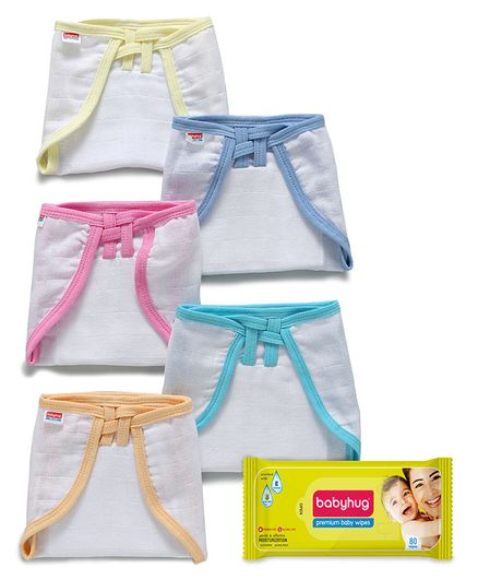 Babyhug U Shape Muslin Nappy Set Medium Pack Of 5 - Multicolor- 1 Qty and Babyhug Premium Baby Wipes - 80 Pieces- 1 Qty