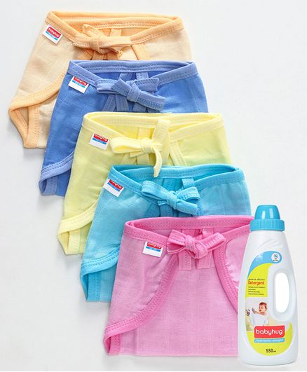 Babyhug U Shape Muslin Nappy Set Lace Extra Small Pack Of 5 - Multicolor- 1 Qty and Babyhug Liquid Laundry Detergent - 550 ml- 1 Qty