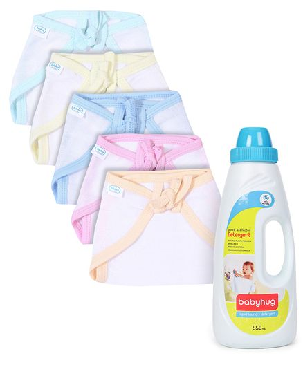 Babyhug U Shape Muslin Nappy Set Medium Pack Of 5 - Multicolor- 1 Qty and Babyhug Liquid Laundry Detergent - 550 ml- 1 Qty