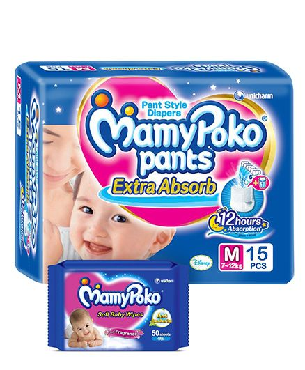Mamy Poko Extra Absorb Pant Style Diaper Medium -15 Pieces & Mamy Poko Soft Baby Wipes - 50 Pieces