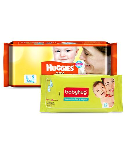 Huggies Dry Taped Diapers Large Size - 5 Pieces	& Babyhug Premium Baby Wipes - 80 Pieces
