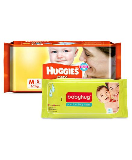 Huggies Dry Taped Diapers Medium Size - 5 Pieces & Babyhug Premium Baby Wipes - 80 Pieces